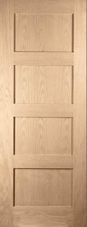 White Oak Shaker 4 panel door