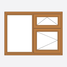 Oak Stormsure Casement Window - Fixed/Vent over Opener