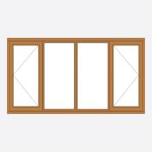 Oak Stormsure Casement Window Open/Fixed-Fixed/Open