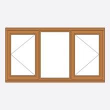 Oak Stormsure Casement Window Open/Fixed/Open