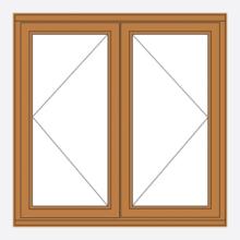 Oak Stormsure Casement Window Open/Open
