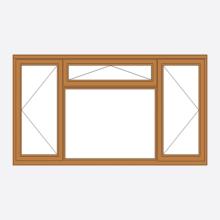 Oak Stormsure Casement Window - Open/Vent/Open