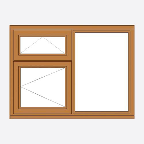 Oak Stormsure Casement Window Vent over Opener/ Fixed