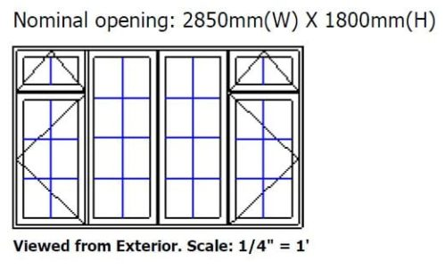 Clearance timber window 2850 x 1800