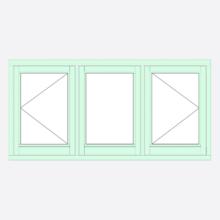 Sunvu Flush Casement Window open/fixed/open