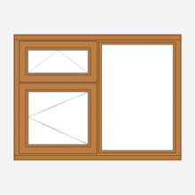 Sunvu Oak Casement Window Vent over opener/Fixed
