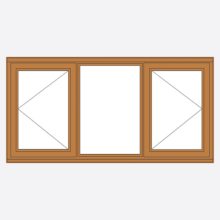 Sunvu Oak Casement Window open/fixed/open