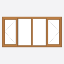 Sunvu Oak Casement Window open/fixed/fixed/open