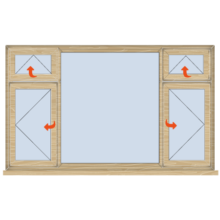 Standard Width Casement window with Transom 2334mm