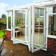 3 door white upvc folding to the right from the outside