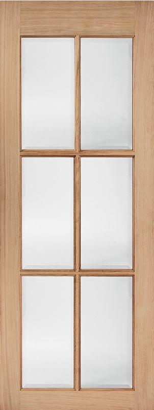 OAK SA 6 LITE WITH CLEAR BEV GLASS