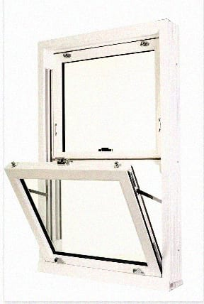 White woodgrain sliding sash window