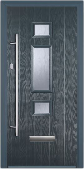 Charcoal White Jacobean Composite Door With 1200mm Bar