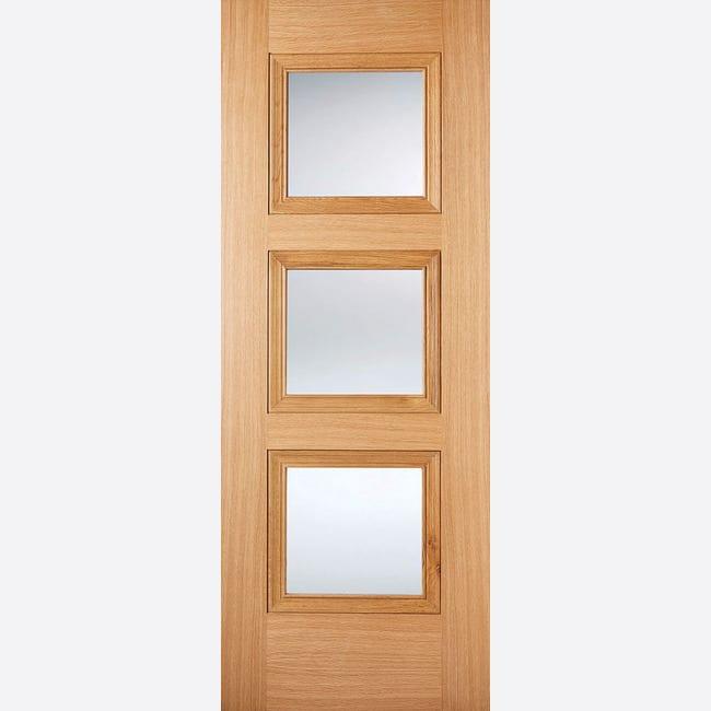 Oak Amsterdam Glazed 3L Pre-finished Door