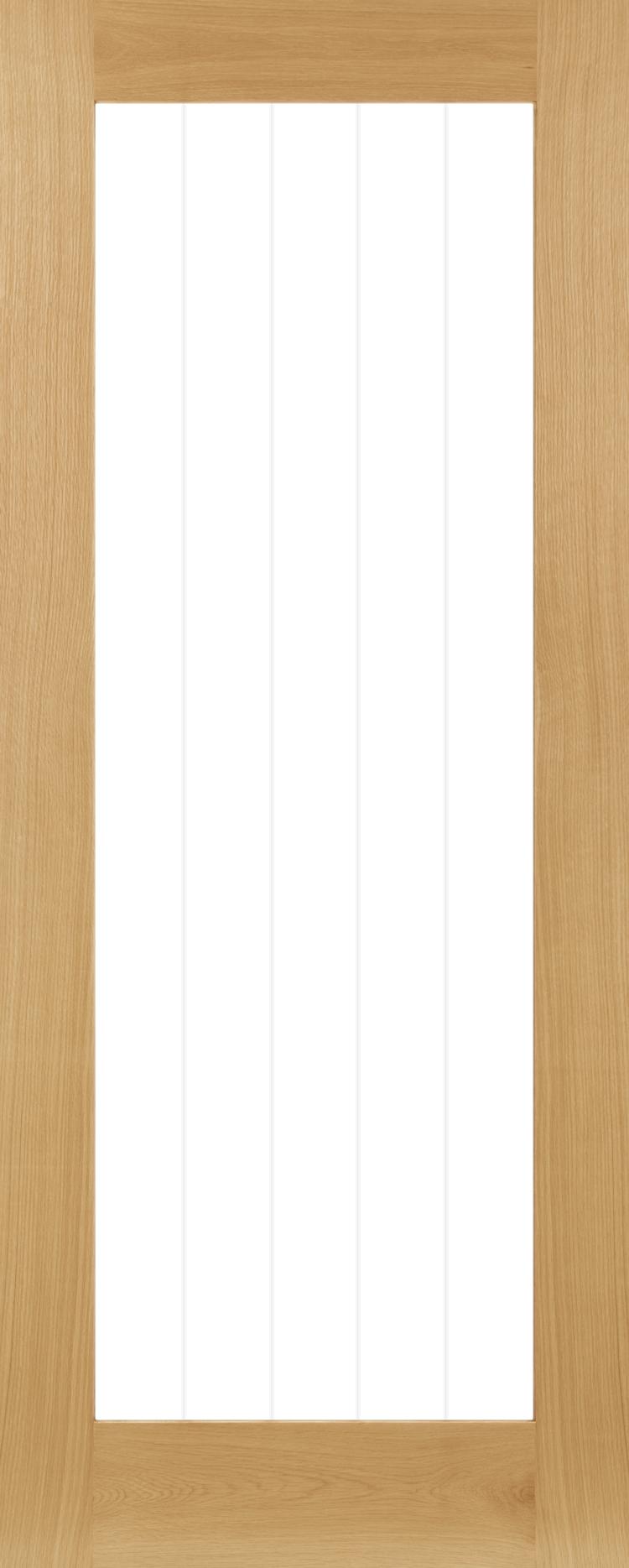 Deanta Ely Oak 1 Light Clear Fully glazed Door Prefinished