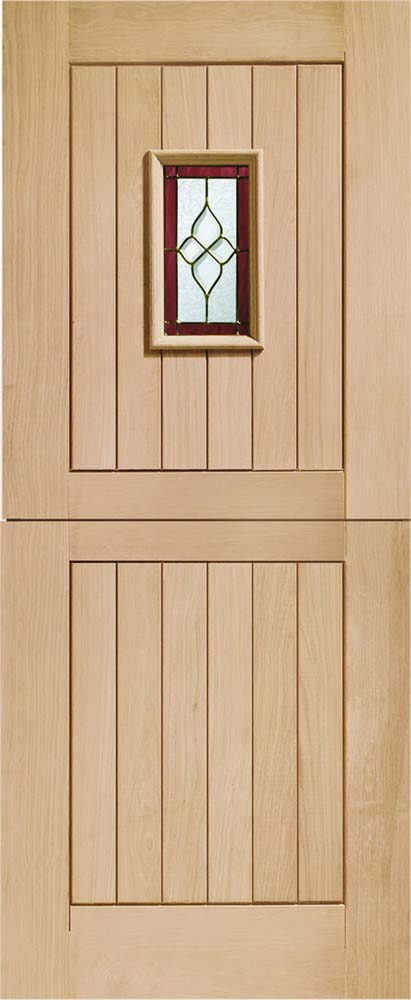 Chancery Stable Triple glazed external oak door with Brass Caming