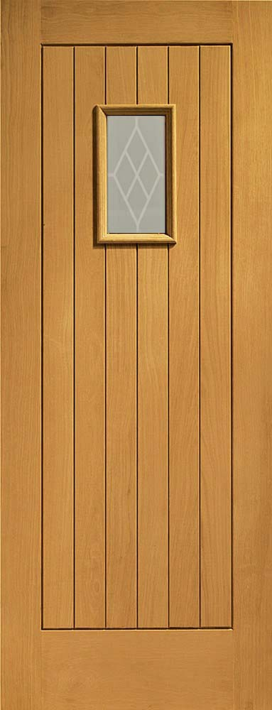Chancery double glazed extrenal oak pre-finished with decorative glass