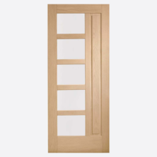 Lucca Double Glazed External Oak Door with Obscure Glass