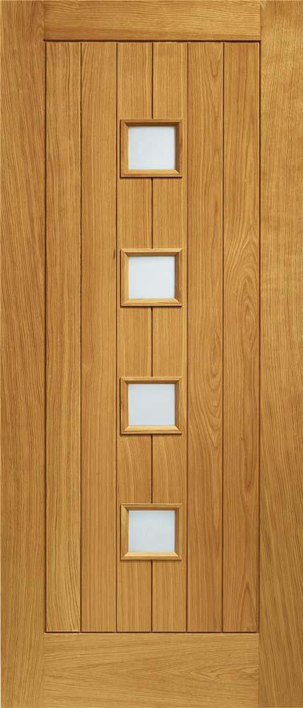 Siena pre-finished doublw glazed external oak door with obscure glass