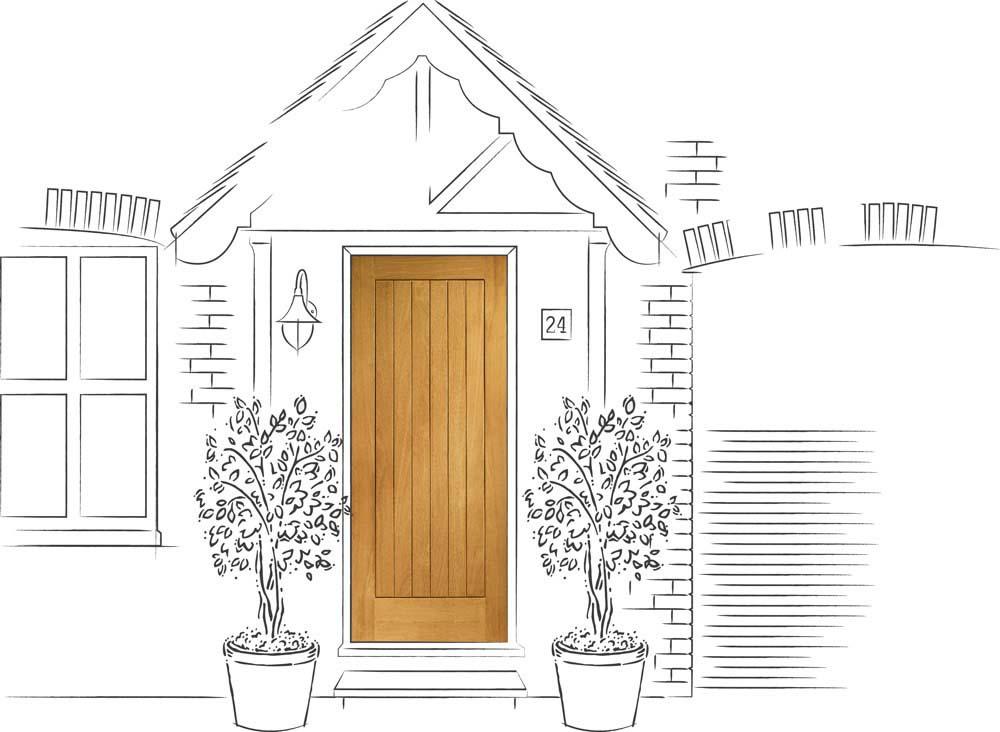 Suffolk oak door finished setshot