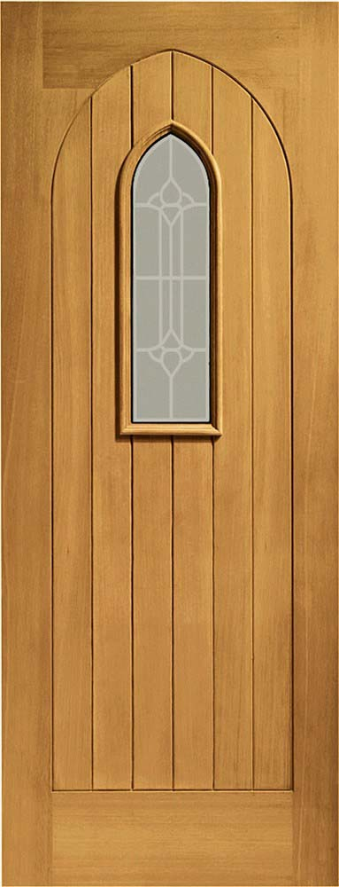 Westminster Pre-finished Double glazed oak door with decorative glass