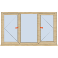 Standard Timber Casement Window 1765mm Wide Open/Fixed/Open
