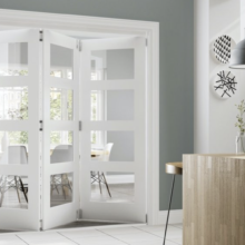 Deanta Coventry White Folding Clear Glass Doors
