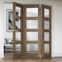 Coventry Walnut Folding Clear Glass Doors