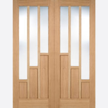 Oak Coventry Glazed 3L un-finished Door Pair
