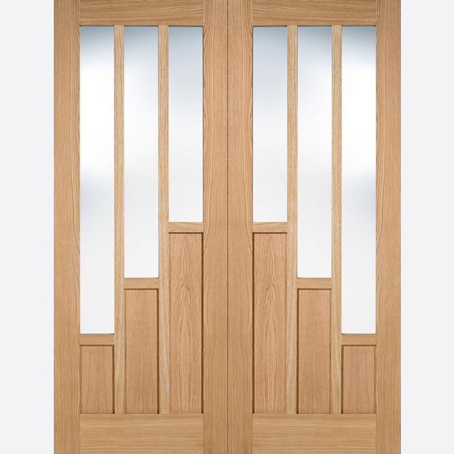 Oak Coventry Glazed 3L Pre-finished Door Pair