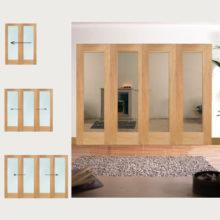 Oak Pattern 10 Clear Glazed Room Divider
