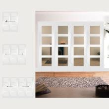 Easi-Slide Primed Shaker Glazed Room Divider